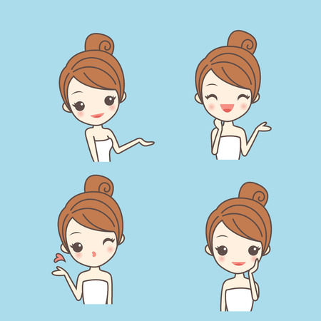 skin care woman: cartoon skin care woman show something with various expression Illustration