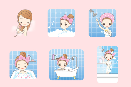 woman cellphone: cartoon woman is taking a bath in the bathroom Illustration