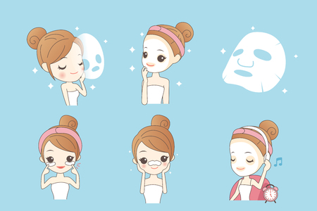 exfoliation: cute cartoon girl care her face with mask