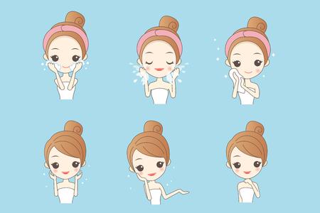 漫画肌ケア女性様々 な表現と顔の肌の問題
