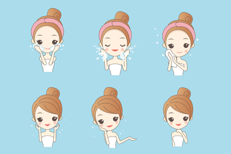 cartoon skin care woman with various expression and face skin problem Imagens - 76249469