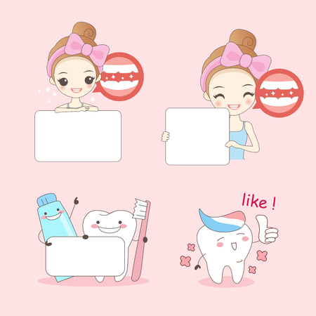 cartoon woamn with teeth on pink background