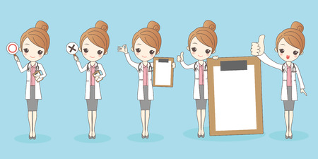 cute cartoon woman doctor on blue background