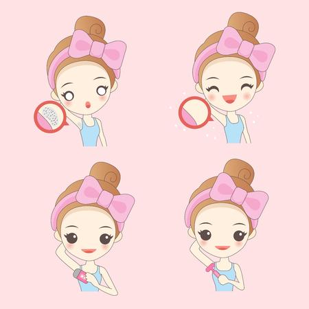 Cartoon Frau mit Achselhöhle Problem auf rosa Hintergrund