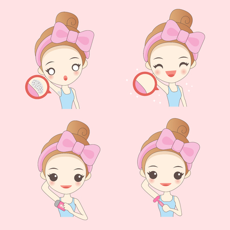 Cartoon woman with armpit problem on pink background