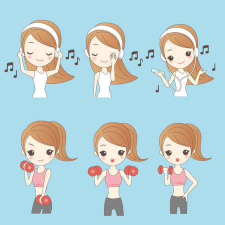 woman cellphone: Cartoon beautiful young woman listen music and do exercise