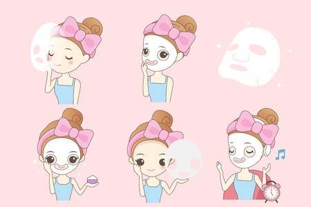 exfoliation: Cartoon woman do facial care on pink background