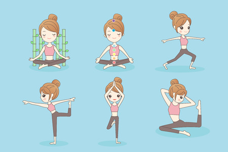 Cartoon sport woman do yoga on the blue background