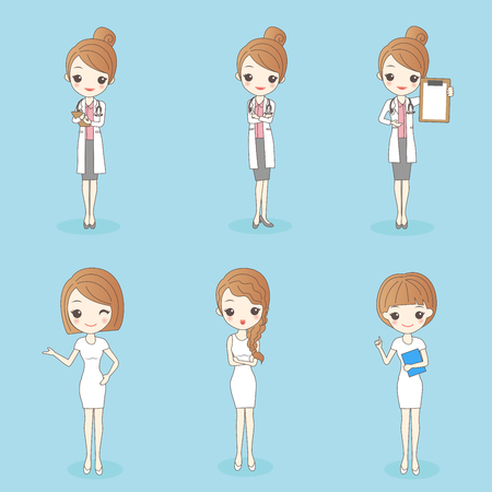 Cartoon  pretty doctor and nurse on blue background