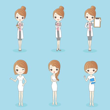 Cartoon  pretty doctor and nurse on blue background