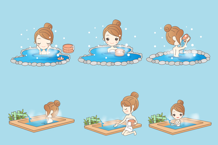 Cartoon woman in hot spring during winter