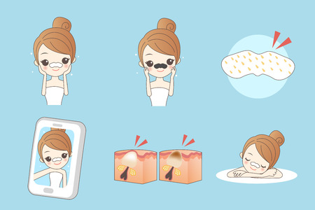 exfoliation: Cartoon of young woman using pore strip on blue background. Illustration