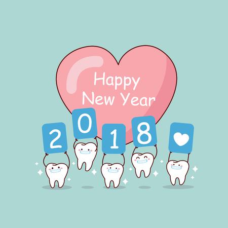 Feliz año nuevo y diente de dibujos animados lindo con blanqueado