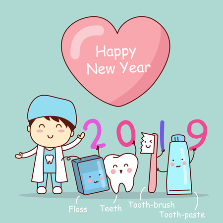Happy new year and cute cartoon dentist with tooth brush