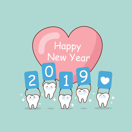 Happy new year and cute cartoon tooth hold 2019 billboard