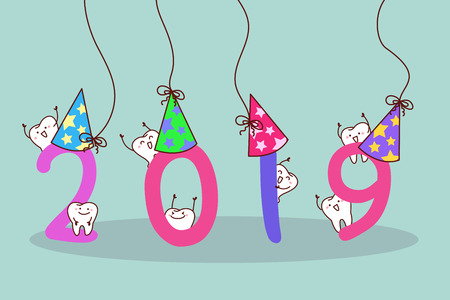 happy new year with cute cartoon white tooth Vector Illustration