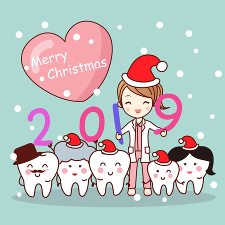 Happy new year with cute cartoon dentist and tooth family