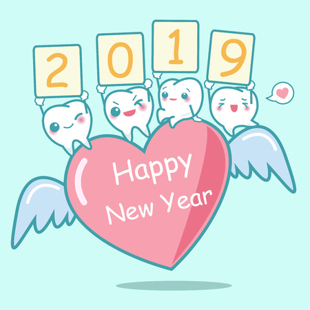 happy new year with cute cartoon white tooth