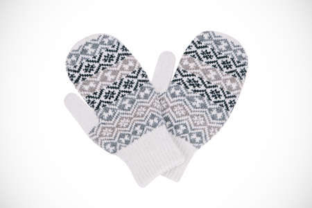 mittens: Warm winter mittens on a light background