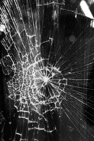 Broken glass background on city lights background Stock Photo