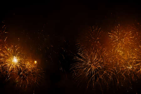 New Year celebration fireworks. Fourth of July Fireworks. Fireworks light up the sky with dazzling display. glowing fireworks show.