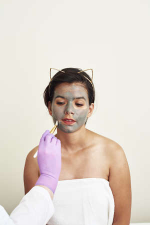 A gray mud mask is applied to a lovely young woman. Beautician procedures. Facial care, pore tightening and moisturizing with natural cosmetic creams.