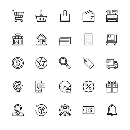 Shopping online, Store, Product, Delivering, Discount, Icons, Vector and Illustration