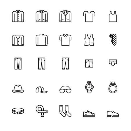 Men's clothing and personal accessories, icons ,vector and illustration Illustration