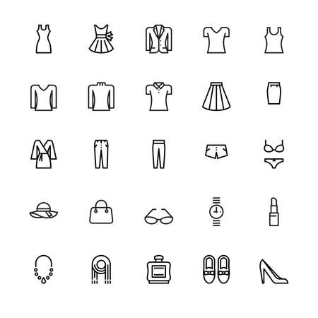 Women's clothing and personal accessories, icons, vector and illustration