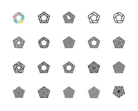 Forme géométrique, Pentagone, cinq, logo, concept de design, symbole créatif, haute qualité, icône, vecteur et illustration Logo