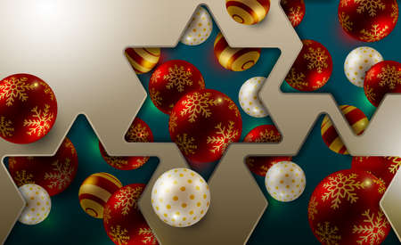Christmas holiday design. Xmas Background, Realistic glitter balls, Vector illustration.