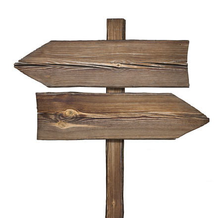 differ: Wooden direction sign with two arrows in opposite directions on white background