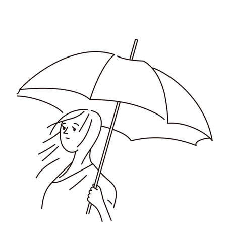 Line drawing illustration of a young woman holding an umbrella with a sad expression