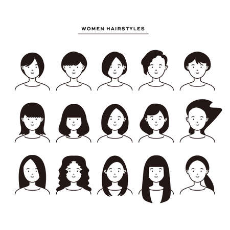 15 different vector icons for women's hairstyles 일러스트