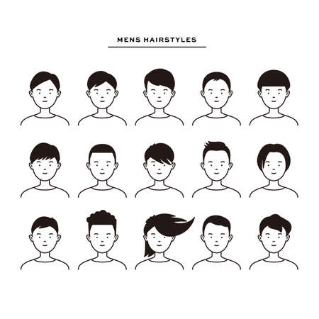 15 different vector icons/illustrations of men's hairstyles