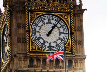 royality: Londons big ben with union jack flag flying Stock Photo
