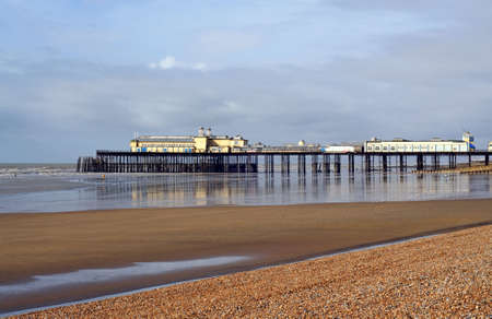 vibrance: Hasting England beach side pier reflections and vibrance Stock Photo