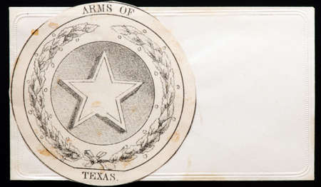 antique arms of texas star cover with embossed edges.  Stock Photo