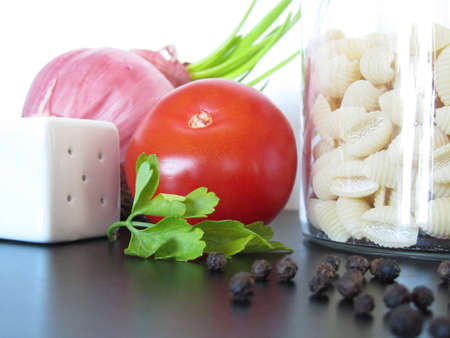 Mediterranean ingredients with a jar of pasta Stock Photo - 13355024