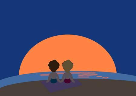 spouses: Lovely sunset Illustration