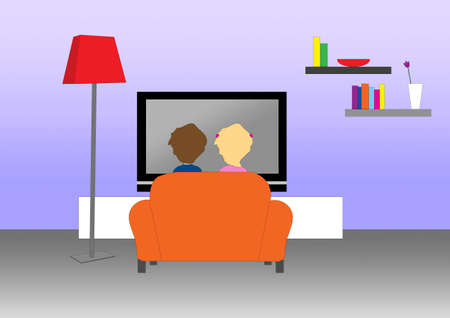 people watching tv: A tender couple at home watching the television on an orange sofa