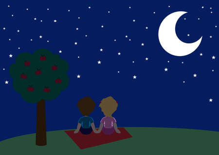 A tender couple looking a romantic starry sky Vector