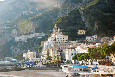 foreshortening view of the beautiful Amalfi in the south of Italy photo