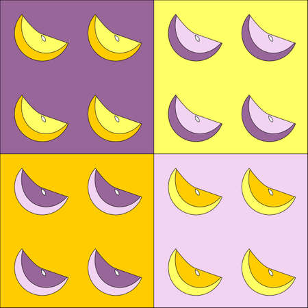 Texture with four variations of colors for purple and yellow lemons Stock Vector - 13907799