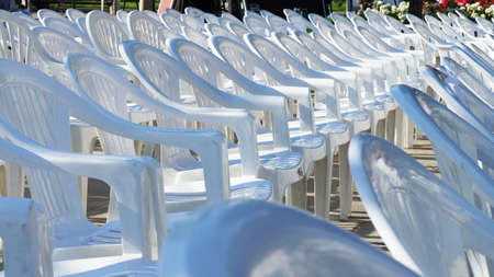 array: Array of empty white chairs ready for an exhibition