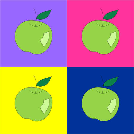 apple sack: Green apples with colorful backgrounds Illustration