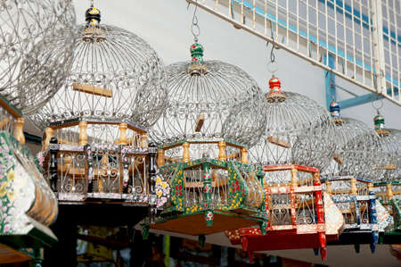 Decorated bird cages hanging in a tunisian bazaar Stock Photo - 14939008
