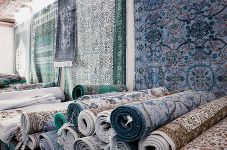 tunisian: Handmade carpets in a bazaar of the tunisian Kairouan