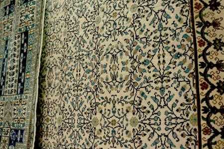 kairouan: Details of the decor of a tunisian carpet in a Kairouan bazaar