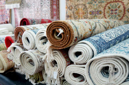 kairouan: Handmade carpets in a bazaar of the tunisian Kairouan